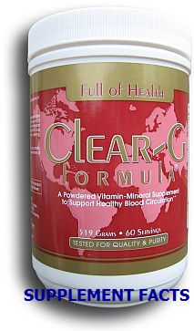 Clear-G Formula | Powdered Dietary Supplement | Advanced Blood Circulation Support